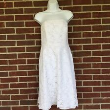 Lilly Pulitzer Women's 8 White Floral Eyelet Strapless 100% Cotton Dress