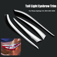 ABS Chrome Tail Light Lamp Eyebrow Cover Trim For Nissan Qashqai J11 2014-2016