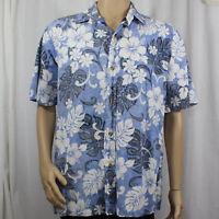 Island Traditions Reverse Print XL Hawaiian Shirt Blue White Black Floral Aloha