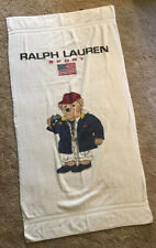 "VTG RALPH LAUREN Jockey Polo Bear Bath Beach Towel 90's RL 68"" x 36"" Made in USA"