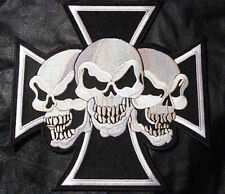 Iron On/ Sew On Embroidered Patch Badge Skull Trio Maltese Cross Malta Large