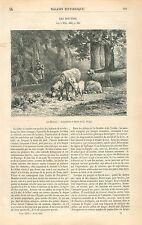 Berger Chien Les Moutons Dessin de Charles Jacque GRAVURE ANTIQUE OLD PRINT 1863