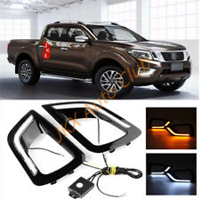 For Nissan Navara NP300 2015-2018 2* Black Cover f LED DRL Daytime Running Light