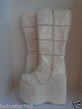 New Demonia Womans Stack 301 White Patent Raver Platform Boots Size 8