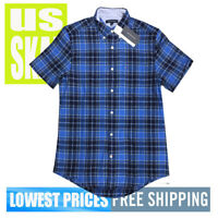 Tommy Hilfiger Men's NWT Blue Checkered 2 Button-Down Short Sleeve Shirt MEDIUM