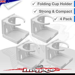 4X WHITE Folding Drink CUP HOLDER Marine Boat Car Truck Van Caravan