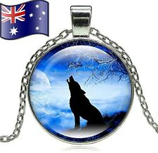 Howling Wolf Werewolf Full Moon Glass Cabochon Pendant Necklace + Gift Pouch