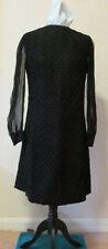 Late 1950's Black Ribbon Lace Sheath Dress, Chiffon Sleeves, 16-18 Petite, VVGC