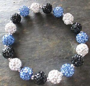 Carolina Panthers- Bling- Crystal-Rhinestone-Blue/Black/Silver-Bracelet