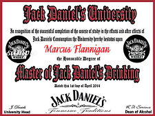 Jack Daniels University Certificate Shed Bar Personalised - 40th Birthday Gift