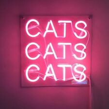 """New Cats Cats Cats Acrylic Neon Light Sign 14"""" Beer Pub Real Glass Lamp Artwork"""