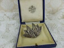Antique Art Deco Sterling Silver Marcasite Duette Dress Clip Brooch boxed