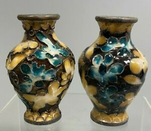 Pair of Japan Japanese Enamel  blue, yellow, red, and purple vases ca. 19th c.