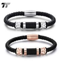TT Black Leather 316L S.Steel Bead Magnet Buckle Bracelet Silver/Rose(BR317)NEW