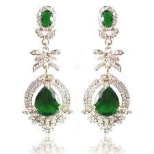 Ohrringe hängende für fiestas Diamanten Grün und Zirkonium Größe 7cm