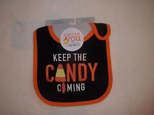 "NWT Baby Boy Girl ""KEEP THE CANDY COMING"" Teething Halloween Bib Water Resistant"