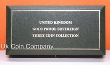 Royal Mint UK Cuero sintético verde oscuro vacía Oro Prueba 3 Soberano Caja de moneda
