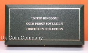 Royal Mint Uk Dark Green Leatherette Empty Gold Proof 3 Sovereign Coin Box