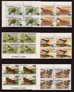 BIRDS on Stamps....  Phillipines  1979 bird set in used blocks of 4