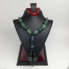 """1 Pc Natural Hand Crafted Tube Jade beaded necklace from Afghanistan 20"""" FP03"""