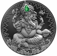 GANESHA - World Cultures 2 oz Silver Coin Antique finish Cameroon 2019
