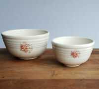 Vintage Cronin Bake Oven Small Nesting Mixing Bowls Set of 2 with flowers