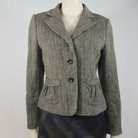 Per Una Wool Mohair Blend Tweed Brown Multi Jacket Size UK 12 Smart Career Wear