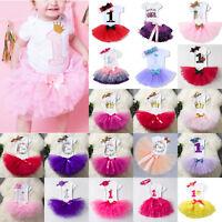 Baby Girls Kids 1st Birthday Outfit Romper + Princess Tutu Dress + Headband Prom