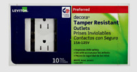 New!! LEVITON Decora White Tamper Resistant OUTLET 15 Amp 125V 10 PACK T5325-WMP