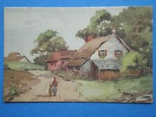 POSTCARD SOCIAL HISTORY WATER COLOUR OF COUNTRY COTTAGE
