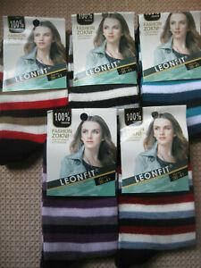 Ladies Leonfit Cotton socks, narrow stripes, Sizes 3-5, 5-7, 5 colours