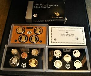 2012-S United States Mint Silver Proof Set 14 Coins Total With Box & COA