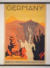 RARE Vintage Original Deutschland (Giant Mountains), 1929 Germany Travel Poster