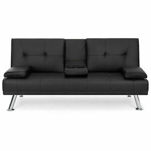 Sofa Bed Futon Lounger Home Theater Compact Recliner Couch w Cup Holders - Black