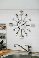 MODERN CUTLERY RETRO WALL CLOCK FORK SPOON KITCHEN UTENSIL HANGING TIME PLASTIC