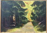 Impressionist Hermann Feltendal Waldweg zwischen Tannen 53 x 70 cm