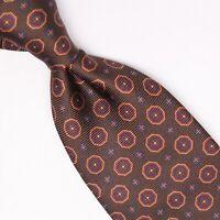 Josiah France Mens Silk Necktie Brown Gold Red Blue Geometric Print Tie Italy