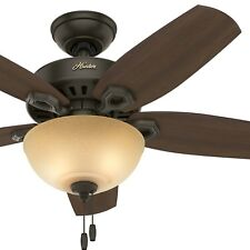 """Hunter 42"""" Small Room Ceiling Fan in New Bronze with Bowl Light Kit"""