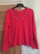 Per Una Cerise Pink Jumper With Pretty Button Detail Neckline Size 18 M&S