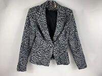 White House Black Market Women's Sz 6 Blazer Jacket Leopard  Gray Black WHBM EUC