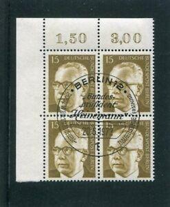 Berlin, Heinemann, Mi.-Nr. 427, Eckrandviererblock, 4er Ecke, ESST Berlin