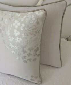 "Laura ASHLEY 'COCO ' DOVE GREY FABRIC CUSHION COVER PIPED 12"" X 18"""
