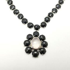 "PJC Sterling Silver Moonstone & Black Spinel Large Pendant 20""in Tennis Necklace"