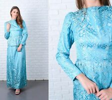 Vintage 60s Blue peplum Dress Mod Puff Sleeve Jacquard Floral Small Maxi S