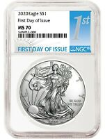 2020 1oz Silver Eagle NGC MS70 - First Day Issue  Label - PRESALE