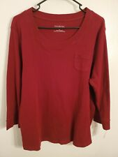 TALBOTS S Burgundy Soft Cotton Crew Neck 3/4 Sleeve T-Shirt Blouse NEW NWT R5L3