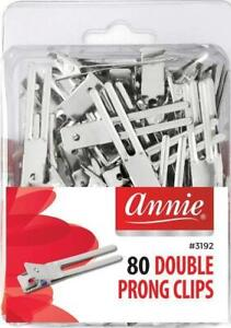 Annie Double Prong Clips - 80-Pack - Durable - Helps Hold Curls - #3082 #3192