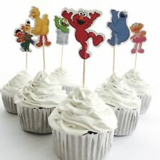 12x Sesame Street CUPCAKE Food TOPPER Pick. Party Supplies Lolly Loot Bag Elmo