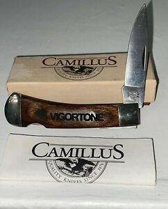 Vintage Camillus 885 Pocket Knife Advertising VIGORTONE on wood sword brand
