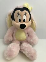 Disney Store Exclusive Minnie Mouse Easter Bunny Stuffed Plush Pink & Yellow